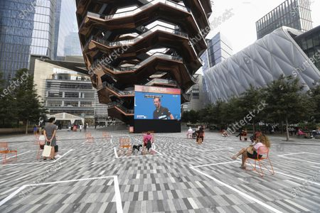 People are seen on the outdoor square where it was marked to remind people of keeping social distancing in Hudson Yards in New York City, the United States, Sept. 9, 2020. U.S. COVID-19 deaths surpassed 190,000 on Wednesday, according to the Center for Systems Science and Engineering (CSSE) at Johns Hopkins University.
