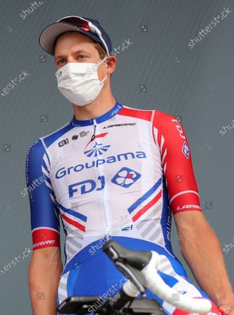 Swiss rider Stefan Kueng of Groupama-FDJ team before the start of the 12th stage of the Tour de France cycling race over 218km from Chauvigny to Sarran, France, 10 September 2020.