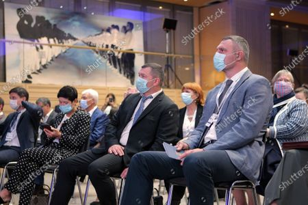 Kyiv city head Vitali Klitschko wears a face mask during the 'Impact of the Covid-19 pandemic on urban development. Global trends. Ukrainian reality. Local Identity.' panel discussion at the Investment Forum 2020 Kyiv Agglomeration: Go Local, Think Global, Kyiv, capital of Ukraine.