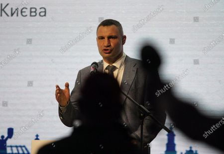 Kyiv city head Vitali Klitschko delivers a speech during the 'Impact of the Covid-19 pandemic on urban development. Global trends. Ukrainian reality. Local Identity.' panel discussion at the Investment Forum 2020 Kyiv Agglomeration: Go Local, Think Global, Kyiv, capital of Ukraine.