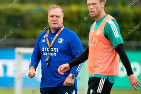 Feyenoord Rotterdam's head coach Dick Advocaat and his player Nicolai Jorgensen during the team's training session at the Sportcomplex 1908 in Rotterdam, The Netherlands, 10 September 2020.