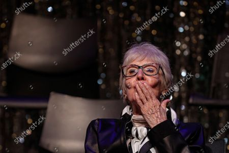 Concha Velasco blows a kiss attends the presentation of the reopening of some theaters after their closing due to Covid-19, in Madrid, Spain, 10 September 2020. The theaters, part of group Pentacin, are the 'Bellas Artes', the 'Reina Victoria' and the 'La Latina'.