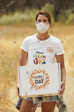 Stock Photo of Cobie Smulders and Planet Oat celebrate the launch of the Planet Oat Project, an ongoing environmental commitment focused on clean land, wildlife conservation and clean water efforts on in Los Angeles. The Planet Oat Project kicks off with Cobie Smulders and Clean Trails in support of National Clean Up Day on September 19, 2020