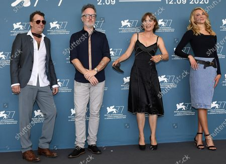 Thomas Jane, British filmmaker Kyle Rankin, Australian actress Radha Mitchell and US actress Isabel May pose at a photocall for 'Run Hide Fight' during the 77th annual Venice International Film Festival, in Venice, Italy, 10 September 2020. The movie is presented out of Competition at the festival running from 02 September to 12 September. The event is the first major in-person film fest to be held in the wake of the Covid-19 coronavirus pandemic. Attendees have to follow strict safety measures like mandatory face masks indoors, temperature scanners, and socially distanced screenings to reduce the risk of infection. The public is barred from the red carpet, and big stars are expected to be largely absent this year. The 77th edition of the festival runs from 02 to 12 September 2020.