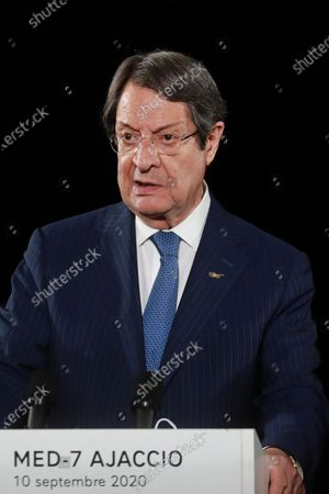 Cyprus President Nikos Anastasiadis speaks during the closing press conference of the seventh MED7 Mediterranean countries summit, in Porticcio, Corsica, France, 10 September 2020. French president is on a two day official trip to Corsica to attend the 7th MED7 Mediterranean countries summit held in Porticcio, near Ajaccio, on 10 September 2020.