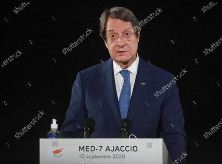 Cyprus President Nikos Anastasiadis attends a media conference after an emergency summit in Porticcio, Corsica island, Thursday Sept.10, 2020. Leaders of EU countries on the Mediterranean Sea are holding an emergency summit in Corsica on Thursday amid fears of open conflict with Turkey stemming from mounting tensions over oil and gas drilling