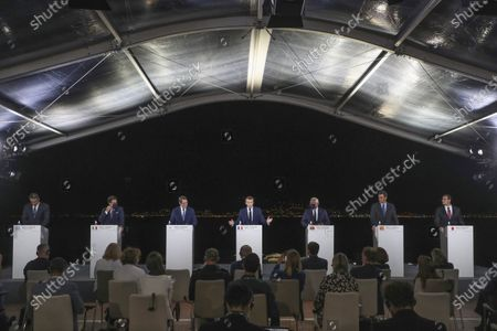 From left to right, Greek Prime Minister Kyriakos Mitsotakis, Italy's Prime Minister Giuseppe Conte, Cyprus President Nikos Anastasiadis, France's President Emmanuel Macron, Portugal's Prime Minister Antonio Costa, Spain's Prime Minister Pedro Sanchez and Malta's Prime Minister Robert Abela, attend a media conference after an emergency summit in Porticcio, Corsica island, Thursday Sept.10, 2020. Leaders of EU countries on the Mediterranean Sea are holding an emergency summit in Corsica on Thursday amid fears of open conflict with Turkey stemming from mounting tensions over oil and gas drilling