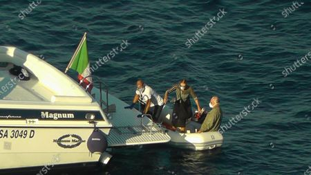 SSC Napoli president Aurelio De Laurentiis (R) leaves Capri on a private boat together with his wife Jacqueline, Capri, Italy, 10 September 2020. According to qualified sources of SSC Napoli, doctors have suggested that the president of Napoli should leave Capri to undergo medical checks and to be better monitored given his positivity to COVID-19.