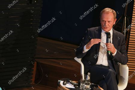 Editorial image of Merkel, Tusk at panel discussion '30 Years German Reunification', Berlin, Germany - 10 Sep 2020
