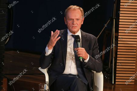 Donald Tusk, President of the European People's Party (EPP), and German Chancellor Angela Merkel (not pictured) during a panel discussion on '30 Years of German Unity' in Berlin, Germany, 10 September 2020. Germany on 03 October 2020 marks the 30th anniversary of the German Reunification.