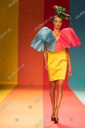 Model Neus Bermejo poses a creation of the Spanish fashion designer Agatha Ruiz de la Prada during the Mercedes Benz Fashion Week Madrid, MBFW Madrid. Fashion week under the Covid-19 rules in Madrid on September 10, 2020.