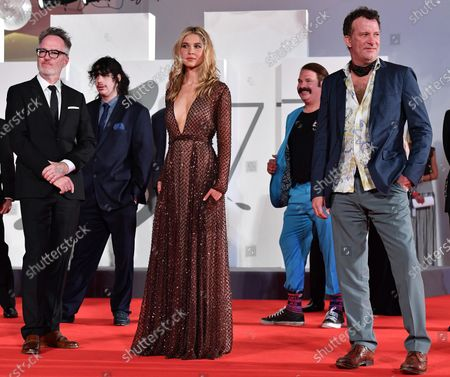 Stock Image of British filmmaker Kyle Rankin (L) , US actor/cast member Thomas Jane (R) and US actress/cast mamber Isabel May (C) arrive for the premiere of 'Run Hide Fight' during the 77th annual Venice International Film Festival, in Venice, Italy, 10 September 2020. The movie is presented out of Competition at the festival running from 02 September to 12 September. The event is the first major in-person film fest to be held in the wake of the Covid-19 coronavirus pandemic. Attendees have to follow strict safety measures like mandatory face masks indoors, temperature scanners, and socially distanced screenings to reduce the risk of infection. The public is barred from the red carpet, and big stars are expected to be largely absent this year. The 77th edition of the festival runs from 02 to 12 September 2020.