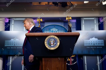 United States President Donald J. Trump departs after holding a news briefing in the James Brady Press Briefing Room of the White House in Washington, DC, USA, 10. Trump fielded questions regarding comments he made to journalist Bob Woodward, author of the forthcoming book 'Rage', that downplayed the threat of the coronavirus.