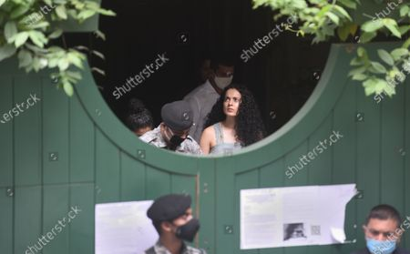 Bollywood actress Kangana Ranaut visited her Pali hill office to take stock of the situation a day after BMC demolished the building citing illegal construction as the reason   on September 10, 2020 in Mumbai, India.  Earlier, the Bombay High Court adjourned Kangana Ranaut's office demolition matter till September 22. The BMC had filed its reply and Kangana's lawyer sought time to respond to the affidavit. Reportedly, Kangana had made an online application for the exemption from home quarantine as she was on a short visit. Followed by which, the BMC also exempted Kangana from the 14-day home quarantine.