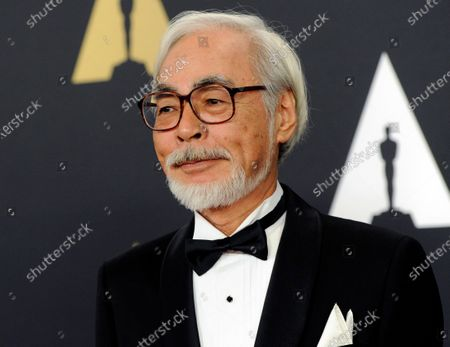 """Hayao Miyazaki arrives at the 6th annual Governors Awards in Los Angeles on . The Academy of Motion Pictures announced a temporary exhibition """"Hayao Miyazaki"""" with over 300 objects exploring each of Miyazaki's animated films. The exhibition will open on April 30, 2021"""