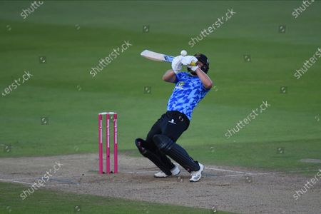 Luke Wright of Sussex Sharks playing a shot over the keeper for four runs