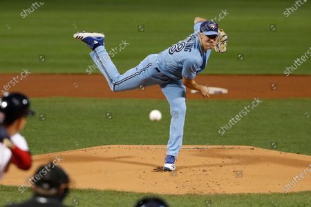 Toronto Blue Jays pitcher Ross Stripling delivers against the Boston Red Sox during the first inning of the second game of a baseball doubleheader, at Fenway Park in Boston