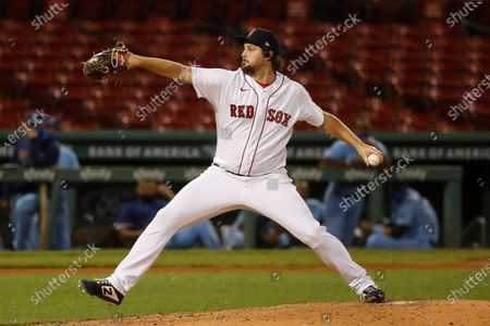 Stock Image of Boston Red Sox's Josh Taylor delivers against the Toronto Blue Jays during the third inning of the second game of a baseball doubleheader, at Fenway Park in Boston