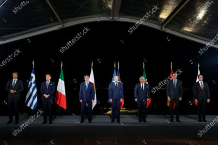 From L) Greek Prime Minister Kyriakos Mitsotakis, Italy's Prime Minister Giuseppe Conte, Cyprus President Nikos Anastasiadis, French President Emmanuel Macron, Portugal's Prime Minister Antonio Costa, Spain's Prime Minister Pedro Sanchez, and Malta's Prime Minister Robert Abela pose after the closing press conference of the seventh MED7 Mediterranean countries summit in Porticcio, Corsica.Leaders of EU countries on the Mediterranean Sea are holding an emergency summit in Corsica on Thursday amid fears of open conflict with Turkey stemming from mounting tensions over oil and gas drilling