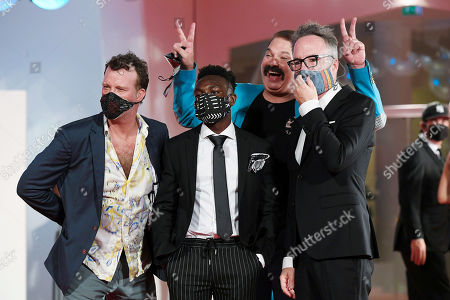 Stock Picture of Thomas Jane, Olly Sholotan, Joel Michaely, Kyle Rankin with protective masks