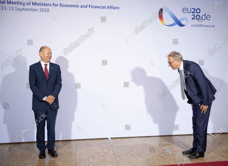 German Finance Minister and Vice Chancellor Olaf Scholz welcomes Luxembourg's Finance Minister Pierre Gramegna prior to an informal meeting of European Union ministers for economic and financial affairs in Berlin, Germany, 11 September 2020. The meeting is taking place under the current German presidency of the European Council.