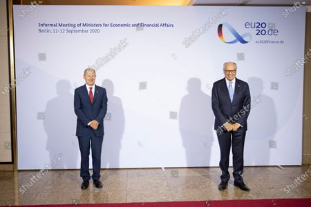 German Finance Minister and Vice Chancellor Olaf Scholz welcomes Finance Minister Edward Scicluna of Malta prior to an informal meeting of European Union ministers for economic and financial affairs in Berlin, Germany, 11 September 2020. The meeting is taking place under the current German presidency of the European Council.