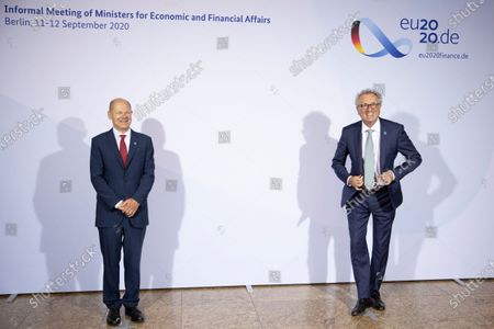 Stock Picture of German Finance Minister and Vice Chancellor Olaf Scholz (L) welcomes Luxembourg's Finance Minister Pierre Gramegna prior to an informal meeting of European Union ministers for economic and financial affairs in Berlin, Germany, 11 September 2020. The meeting is taking place under the current German presidency of the European Council.