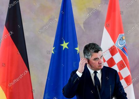epa08660962 Croatian President Zoran Milanovic speaks during a press conference with German President Frank-Walter Steinmeier (unseen) at Bellevue Palace in Berlin, Germany, 11 September 2020. Croatian President Zoran Milanovic is on a one-day state visit to Germany.