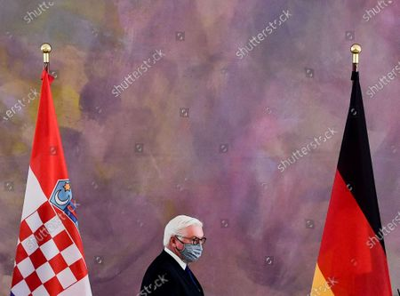 German President Frank-Walter Steinmeier arrives for a press conference with Croatian President Zoran Milanovic (unseen) at Bellevue Palace in Berlin, Germany, 11 September 2020. Croatian President Zoran Milanovic is on a one-day state visit to Germany.
