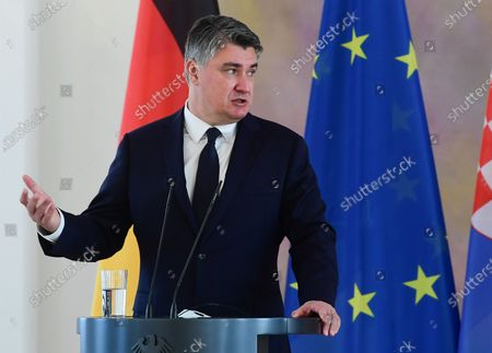 Croatian President Zoran Milanovic speaks during a press conference with German President Frank-Walter Steinmeier (unseen) at Bellevue Palace in Berlin, Germany, 11 September 2020. Croatian President Zoran Milanovic is on a one-day state visit to Germany.