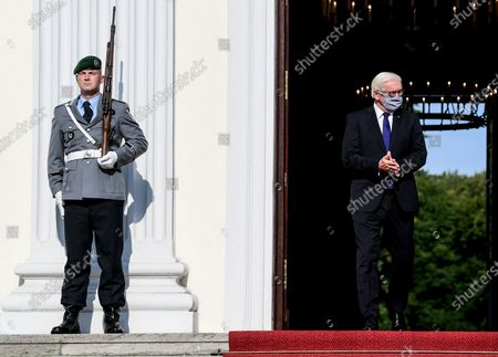 German President Frank-Walter Steinmeier (R) arrives to welcome Croatian President Zoran Milanovic at the Bellevue Palace in Berlin, Germany, 11 September 2020. Croatian President Zoran Milanovic is on a one-day state visit to Germany.