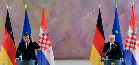 German President Frank-Walter Steinmeier (R) and Croatian President Zoran Milanovic (L) attend press conference at Bellevue Palace in Berlin, Germany, 11 September 2020. Croatian President Zoran Milanovic is on a one-day state visit to Germany.