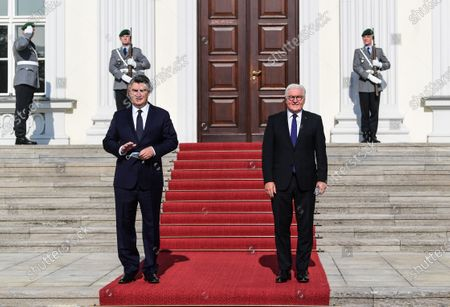 German President Frank-Walter Steinmeier (R) and Croatian President Zoran Milanovic (L) pose for media in the yard of Bellevue Palace in Berlin, Germany, 11 September 2020. Croatian President Zoran Milanovic is on a one-day state visit to Germany.