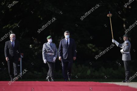 German President Frank-Walter Steinmeier (L) and Croatian President Zoran Milanovic (R) review the honour guards at the Bellevue Palace in Berlin, Germany, 11 September 2020. Croatian President Zoran Milanovic is on a one-day state visit to Germany.