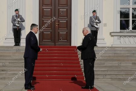 German President Frank-Walter Steinmeier (R) welcomes Croatian President Zoran Milanovic (L) at the Bellevue Palace in Berlin, Germany, 11 September 2020. Croatian President Zoran Milanovic is on a one-day state visit to Germany.