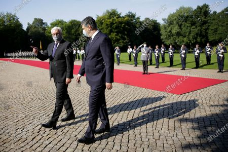 German President Frank-Walter Steinmeier (L) welcomes Croatian President Zoran Milanovic (L) at the Bellevue Palace in Berlin, Germany, 11 September 2020. Croatian President Zoran Milanovic is on a one-day state visit to Germany.