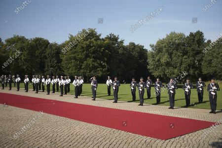 Stock Image of German honour guards keep in distance as during the welcoming ceremony for Croatia's President Zoran Milanovic at German President Frank-Walter Steinmeier's residence Bellevue Palace in Berlin, Germany, 11 September 2020. Croatian President Zoran Milanovic is on a one-day state visit to Germany.
