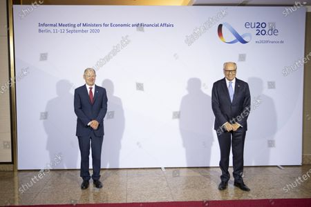 Stock Picture of German Finance Minister and Vice Chancellor Olaf Scholz welcomes Finance Minister Edward Scicluna of Malta prior to an informal meeting of European Union ministers for economic and financial affairs on September 11, 2020 in Berlin, Germany.