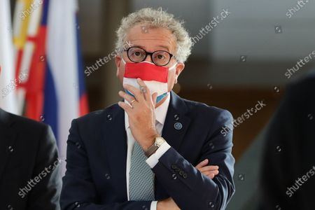 Stock Image of Finance Minister of Luxembourg Pierre Gramegna attends the Informal Meeting of EU Ministers for Economic and Financial Affairs at the InterContinental Hotel Berlin, in Berlin, Germany, 11 September 2020. The meeting runs from 11 to 12 September.