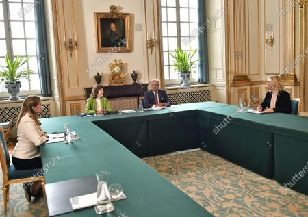 King Carl Gustaf and Queen Silvia during a meeting with the Minister for Health and Social Affairs, Lena Hallengren, (right) and her State Secretary Maja Fjaestad (left) at the Royal Palace in Stockholm