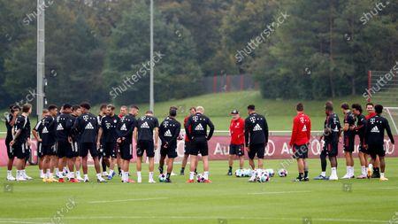 Bayern Munich assistant coach Hermann Gerland leads a training session in Munich, Germany, . The German Bundesliga starts next Friday, Sept. 18, 2020