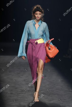 Stock Image of A model presents a creation by Spanish designer Marcos Luengo of the Spring/Summer 2021 season during the Mercedes-Benz Fashion Week Madrid, in Madrid, Spain, 11 September 2020. The MBFWMadrid runs from 10 to 13 September.