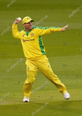 Australia's David Warner fields during the first ODI cricket match between England and Australia, at Old Trafford in Manchester, England
