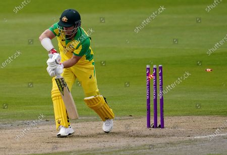 Australia's David Warner is bowled out by England's Jofra Archer during the first ODI cricket match between England and Australia, at Old Trafford in Manchester, England