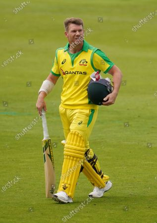 Australia's David Warner walks off the field after being dismissed by England's Jofra Archer during the first ODI cricket match between England and Australia, at Old Trafford in Manchester, England