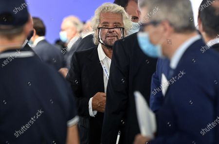 Co-founder of Five-Star movement (M5S) Beppe Grillo with a protective mask during the presentation of the 2019 Blue Book at the Customs and Monopolies Agency, Rome, Italy, 11 September 2020.