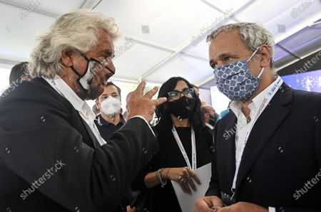 Stock Photo of Co-founder of Five-Star movement (M5S) Beppe Grillo (L) with Fabiana Dadone (C), M5S minister of Public Administration, and Italian journalist Enrico Mentana (R), during the presentation of the 2019 Blue Book at the Customs and Monopolies Agency, Rome, Italy, 11 September 2020.