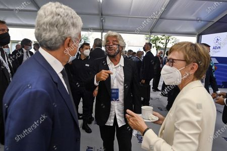 Stock Picture of Co-founder of Five-Star movement (M5S) Beppe Grillo (C) with Italian journalist Milena Gabbanelli (R) and Italian politician Massimo D'Alema (L), during the presentation of the 2019 Blue Book at the Customs and Monopolies Agency, Rome, Italy, 11 September 2020.
