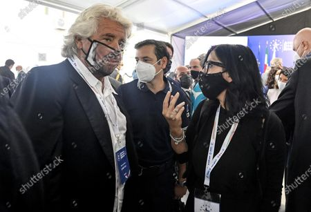 Co-founder of Five-Star movement (M5S) Beppe Grillo (L) with Fabiana Dadone (R), M5S minister of Public Administration, during the presentation of the 2019 Blue Book at the Customs and Monopolies Agency, Rome, Italy, 11 September 2020.