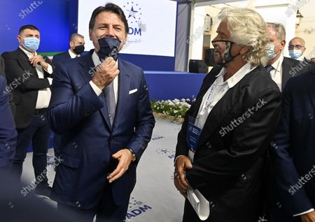 Italian Prime Minister Giuseppe Conte (L) with Co-founder of Five-Star movement (M5S) Beppe Grillo (R) during the presentation of the 2019 Blue Book at the Customs and Monopolies Agency, Rome, Italy, 11 September 2020.
